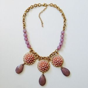 Nude pink blush purple floral statement necklace