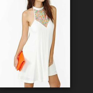 White flowy dress w mesh and colored (neon) jewls