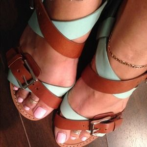 2X HPRebecca Minkoff Sandals MintGreen/Saddle
