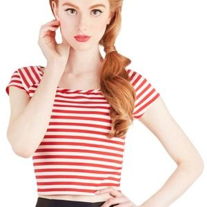 Roller Derby Date Top in Red - Cropped Striped Top