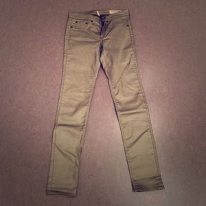 Gold metallic Rag & Bone Legging Skinny Jean sz 27