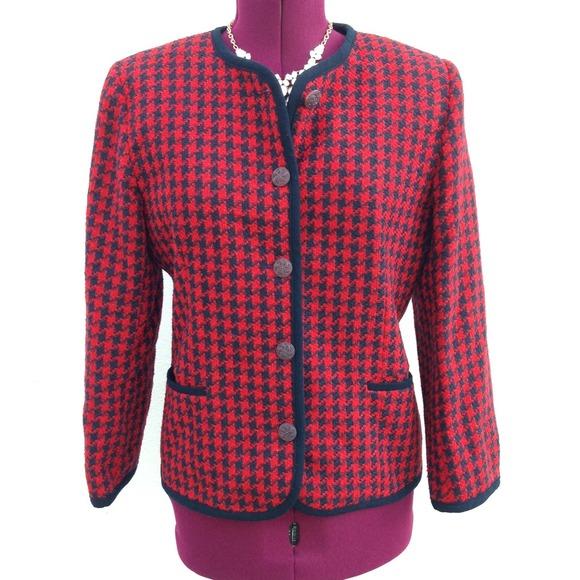 Vintage Jackets & Blazers - ⭐️Vintage preppy houndstooth blazer