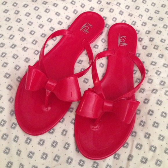 Shoes - Red Jelly Bow Flip Flops