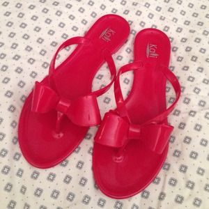 Red Jelly Bow Flip Flops