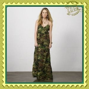 Ralph Lauren Denim & Supply Ruched Camo Maxi Dress