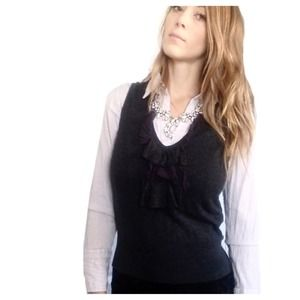 Express charcoal grey ruffled sweater vest