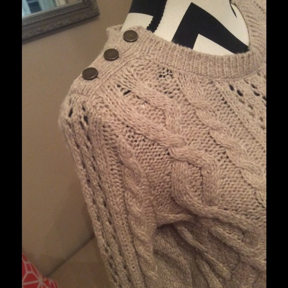 81% off LOFT Sweaters - Ann Taylor Loft Oatmeal Cable Knit Sweater ...