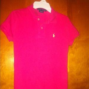 900558096e27a Women Ralph Lauren skinny polo shirt top pink ...
