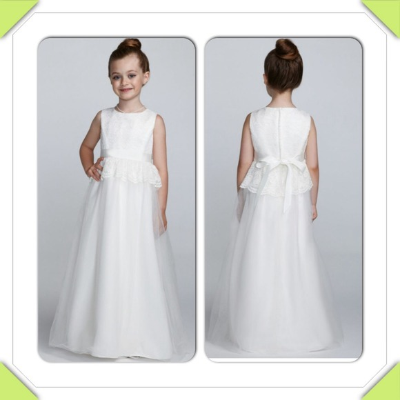 68% off Davids Bridal Other - Ivory Lace Peplum Flower Girl Dress ...
