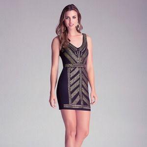 4d7802d65ba4 bebe Dresses | V Strap Black Dress With Gold Embellishment | Poshmark