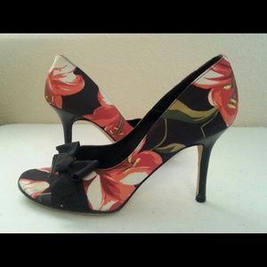 Nine West Shoes - Satin Floral Pumps Italian Leather