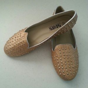 Shoes for the soul Shoes - Gold Studded Glitter Ballet Flat Shoes of the Soul