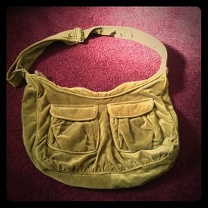 Old Navy Olive Green Faux Velvet Messenger Bag