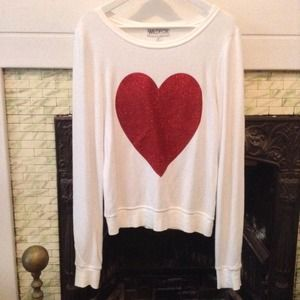 Wildfox Sparkling Red Heart Baggy Beach Jumper