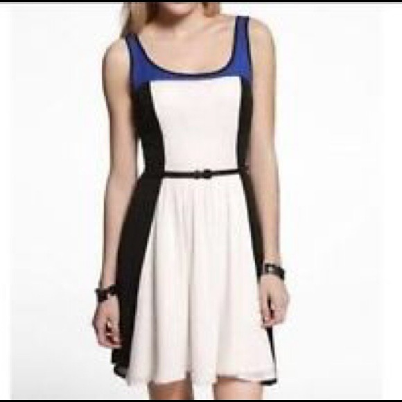 Blue white color block dress