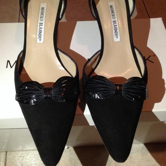 51% off Manolo Blahnik Shoes - Manolo Blahnik Black Suede Kitten ...