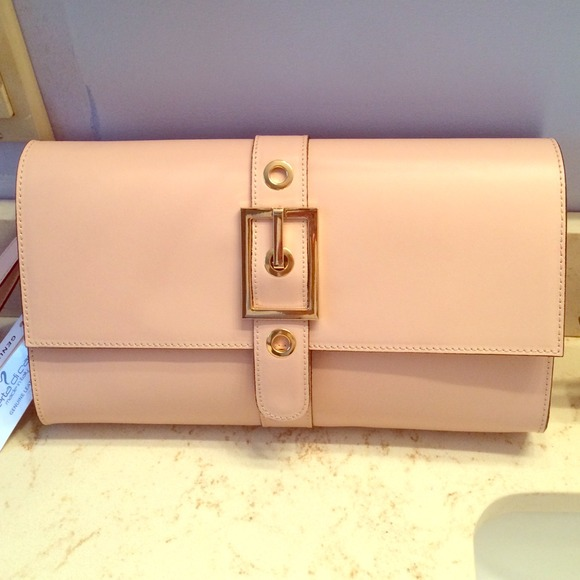 NWT Stunning Blush Pink Leather Oversize Clutch! 14b5792908