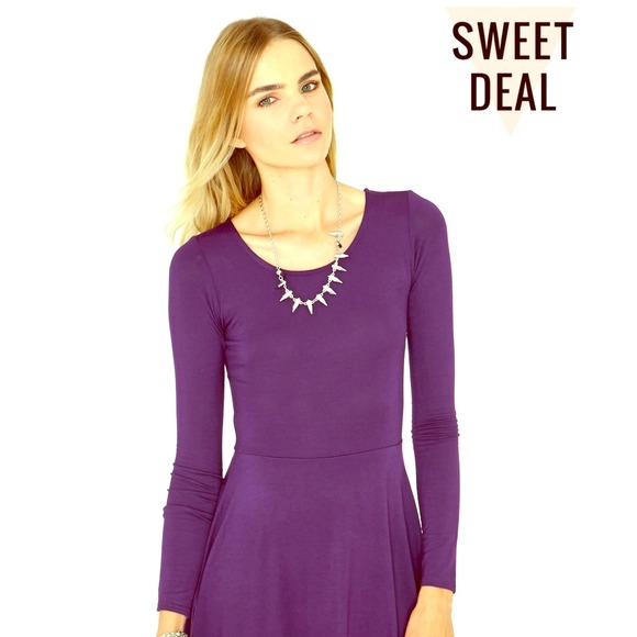 77a1db7f72ec H M Dresses   Skirts - Purple Long-Sleeved Skater Dress