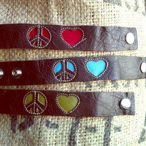 Leather Armband - Peace Sign & Heart