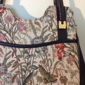 Vintage 70's EUC Tapestry Floral Handbag