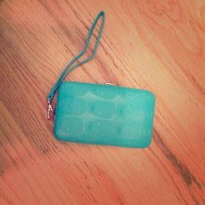 iPhone 4/4s teal skull wallet clutch