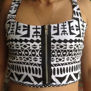 BOGO HALF OFF Black and white aztec crop top