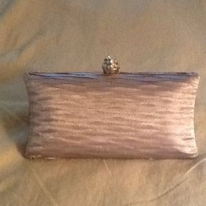 Clutches & Wallets - Silver satin clutch