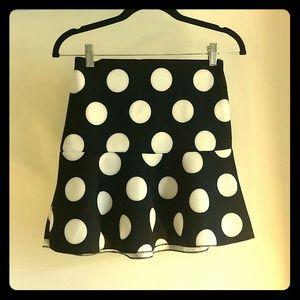 SOLD! Fit&Flare Black White Polka Dot Skirt H&M XS