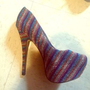Multi-colored 6.5 heels. Worn once in a wedding