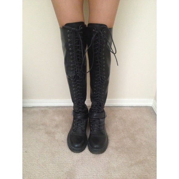 Deena & Oozzy - BUNDLED. UO Over The Knee Lace Up Combat Boots ...