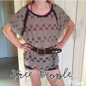 FREE PEOPLE BROWN LACE TOP WITH PANELS OF CHIFFON
