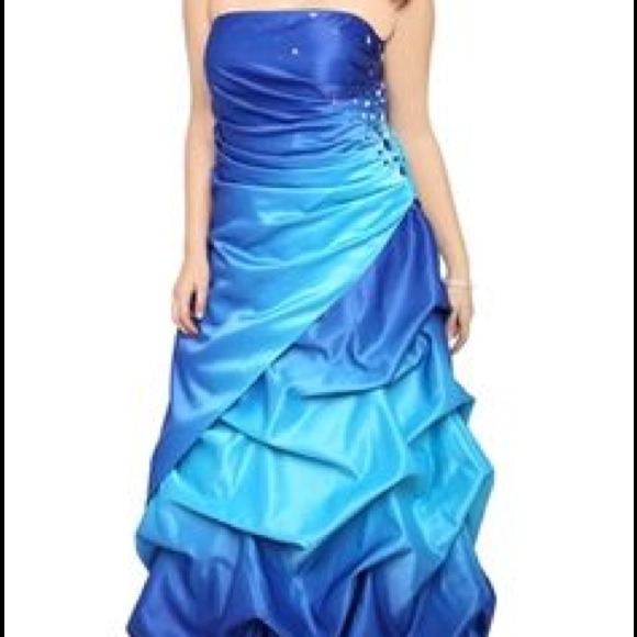 Deb Dresses Blue Ruffle Prom Dress Poshmark