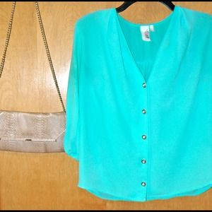 Francesca's Collection Teal Blouse