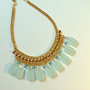 Mint green pendants fashion statement necklace NEW