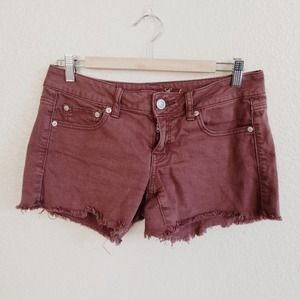 American Eagle Outfitters Denim - American Eagle Burgundy Cut off Midi Shorts