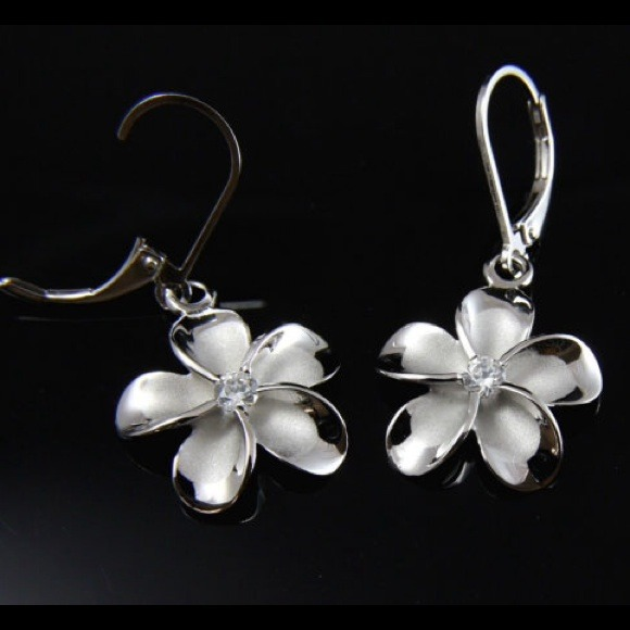 Triple Shiny Plumeria Flower .925 Sterling Silver Stud Earrings