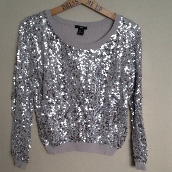44% off H&M Sweaters - H&M Silver Sequin Beige Sweater from ...