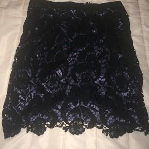 Beautiful lavender black lace high wasted skirt.