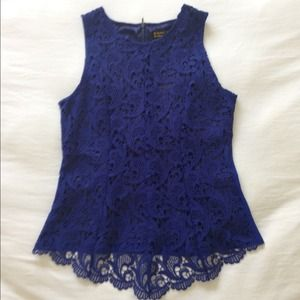 Tops - Cobalt lace overlay top