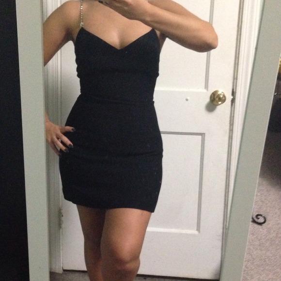 Bebe Dresses Little Black Dress With Rhinestones Poshmark