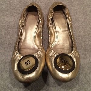Tory Burch Shoes - Tory burch gold flats 8.5