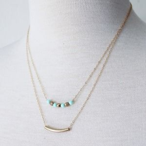 Gold Filled Tarnish-Resistant Aqua & Gold Necklace