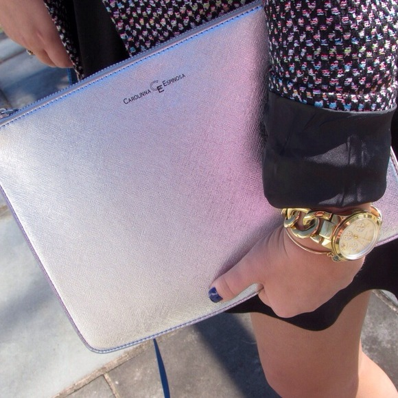 Carolinna Espinosa Metallic Zipper Clutch