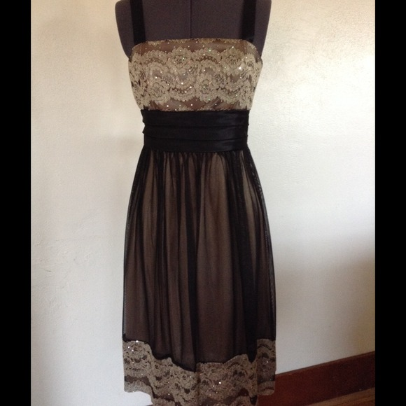 793be77003f4 Dress Barn Dresses & Skirts - DRESS BARN gold & black lace dress. Sz 10