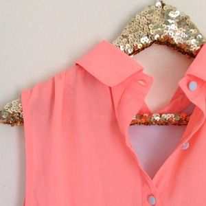 Tops - Neon Coral Powder Blue Button Tunic