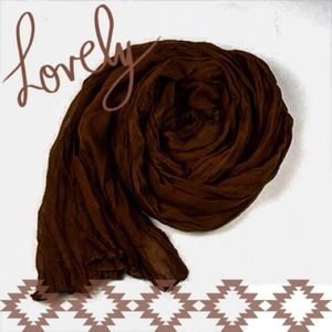 Accessories - NEW Lightweight Sheer Crinkle Scarf in Chocolate