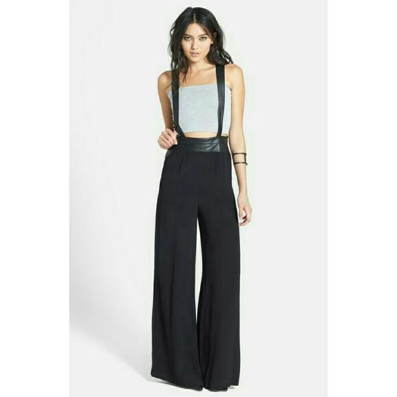 0543ca0b3d5 Faux Leather Trim Suspender Pants