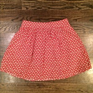 Red print mini skirt