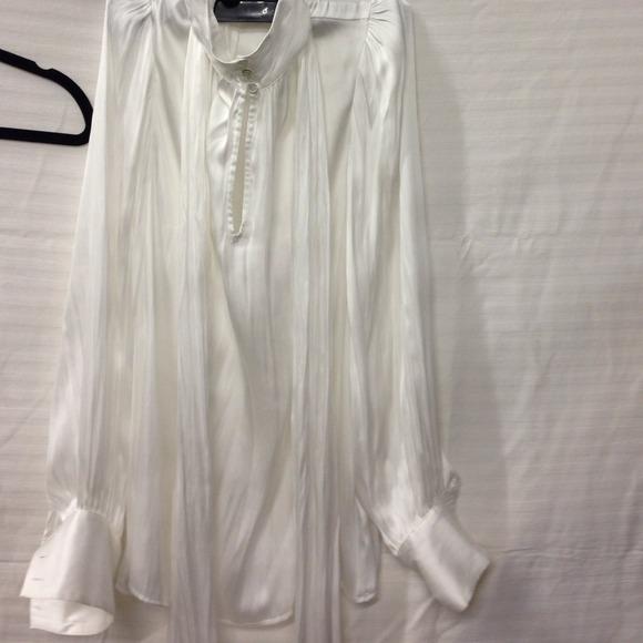 Zara Tops White Tie Neck Satin Blouse Size M Poshmark