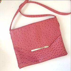 Convertible crossbody clutch ostrich bag